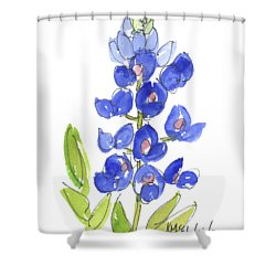 Bluebonnet Shower Curtain by Kathleen McElwaine