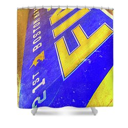 Shower Curtain featuring the photograph Boston Marathon Finish Line by Joann Vitali