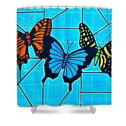 3  Butterflies On Blue Shower Curtain