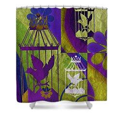 3 Caged Birds Shower Curtain