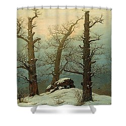 Cairn In Snow Shower Curtain