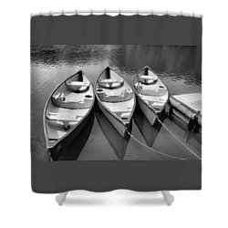 3 Canoes - B/w 2 Shower Curtain