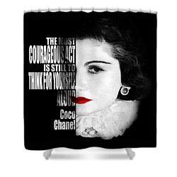 Coco Chanel Motivational Inspirational Independent Quotes Shower Curtain