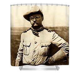 Shower Curtain featuring the photograph Colonel Theodore Roosevelt by War Is Hell Store