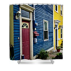 Colorful Houses In St. John's Shower Curtain by Elena Elisseeva