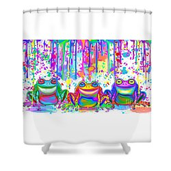 Shower Curtain featuring the painting 3 Colorful Painted Frogs by Nick Gustafson