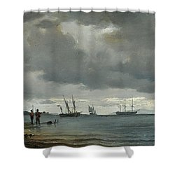 Danish Seascape Shower Curtain by Carl Frederick
