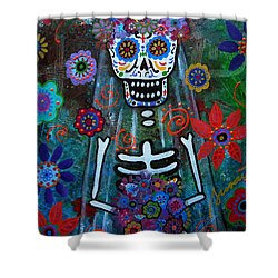 Day Of The Dead Bride Shower Curtain by Pristine Cartera Turkus