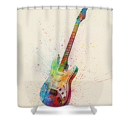 Electric Guitar Abstract Watercolor Shower Curtain by Michael Tompsett