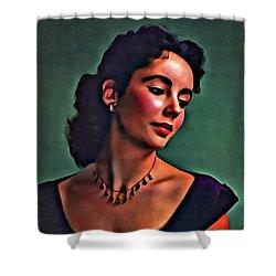 Elizabeth Taylor, Vintage Hollywood Legend By Mary Bassett Shower Curtain