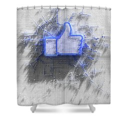 Facebook Like Logo In Pixels Shower Curtain