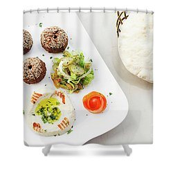 Falafel Hummus Houmus Starter Snack Food Mezze Platter Shower Curtain