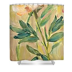 Shower Curtain featuring the painting 3 Flowers by Maria Langgle