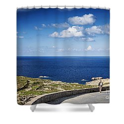 Fort And Coast View Of Gozo Island In Malta Shower Curtain