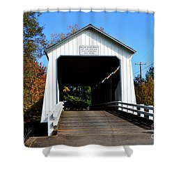 Gallon House Covered Bridge Shower Curtain
