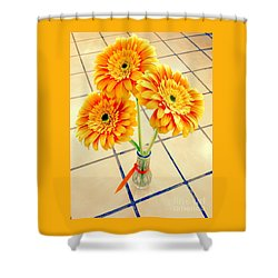 3 Golden Yellow Daisies Gift To My Beautiful Wife Suffering With No Hair Suffering Frombreast Cancer Shower Curtain by Richard W Linford