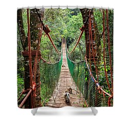 Shower Curtain featuring the photograph Hanging Bridge by Alexey Stiop