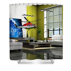 Helicopter Art Shower Curtain by Marvin Blaine