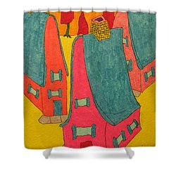 3 Homes With Three Red Trees Shower Curtain