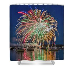 Independence Day Fireworks In Boothbay Harbor Shower Curtain