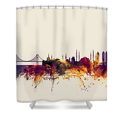 Istanbul Turkey Skyline Shower Curtain by Michael Tompsett