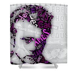 James Dean Movie Titles Shower Curtain by Marvin Blaine