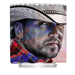 Shower Curtain featuring the mixed media Jason Aldean by Marvin Blaine