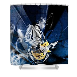 Joe Bonamassa Blues Guitarist Art Shower Curtain by Marvin Blaine