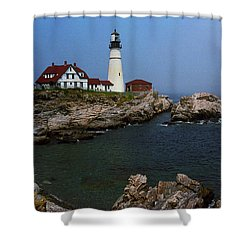Lighthouse - Portland Head Maine Shower Curtain by Frank Romeo