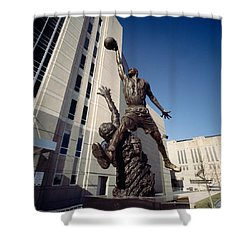 Low Angle View Of A Statue In Front Shower Curtain by Panoramic Images