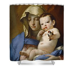 Madonna Of The Goldfinch Shower Curtain by Giovanni Battista Tiepolo