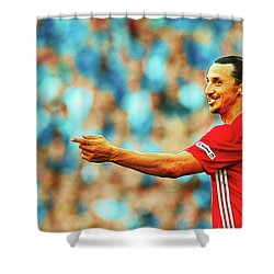 Manchester United's Zlatan Ibrahimovic Celebrates Shower Curtain