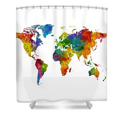 Map Of The World Map Watercolor Shower Curtain