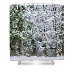 March Snow Along Cranberry River Shower Curtain