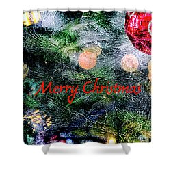 Merry Christmas Background Shower Curtain by Patricia Hofmeester