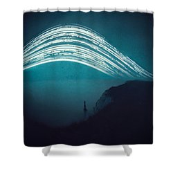3 Month Exposure At Beachy Head Lighthouse Shower Curtain