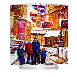 Shower Curtain featuring the painting Montreal Street In Winter by Carole Spandau