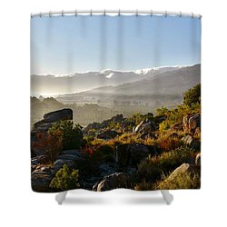 morning fog over Ceres Shower Curtain by Werner Lehmann
