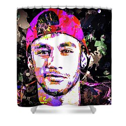 Neymar Shower Curtain by Svelby Art