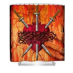 3 Of Swords Shower Curtain by Tammy Wetzel