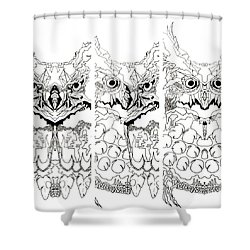 3 Owl Sketch  Shower Curtain