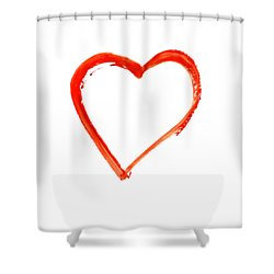 Shower Curtain featuring the drawing Painted Heart - Symbol Of Love by Michal Boubin