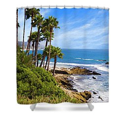 Palms And Seashore, California Coast Shower Curtain by Utah Images