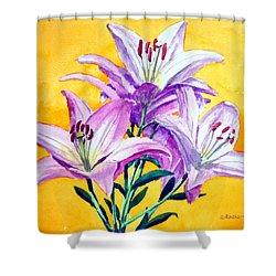 3 Pink Lilies Shower Curtain by Dennis Clark