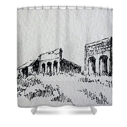Pioneer Ghost Town Montana Shower Curtain by Kevin Heaney