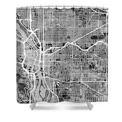 Shower Curtain featuring the digital art Portland Oregon City Map by Michael Tompsett