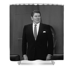 Shower Curtain featuring the photograph President Ronald Reagan by War Is Hell Store