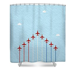 Raf Red Arrows In Formation Shower Curtain