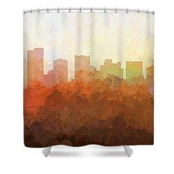 Shower Curtain featuring the digital art Scottsdale Arizona Skyline by Marlene Watson