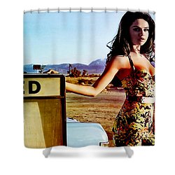 Shower Curtain featuring the digital art Selena Gomez  by Marvin Blaine